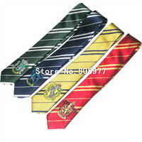 Durable Neck Tie Harry Potter Necktie Gryffindor Tie Slytherin Ravenclaw Costume Accessory Tie With Badge  Cosplay Gift
