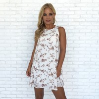 Pristine Ivory Floral Shift Dress