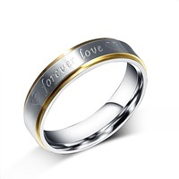 Gold-Color Stainless Steel Promise Rings