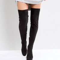 ASOS KINGSHIP WIDE LEG Heeled Over The Knee Boots at asos.com