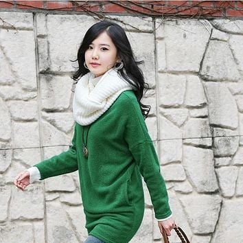 1 pc Soft Women Winter Warm Infinity 2Circle Cable Knit Cowl Neck Long Scarf Shawl clothing accessories