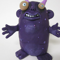 Lowbrow one of a kind clay ooak monster art doll sculpture by mealy monster land
