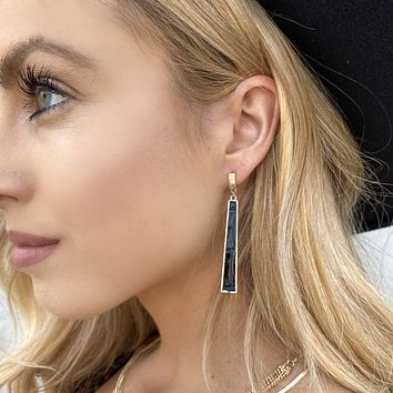 Chic Factor Black Leather Earrings