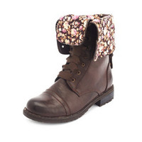 Fold-Over Lace-Up Combat Boot: Charlotte Russe