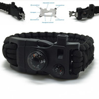 15in1 Outdoor Camping Men Rescue Paracord Parachute Cord Wristbands Emergency Rope Survival Kits Flint Scraper Whistle Buckle