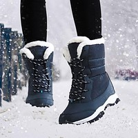 Women Boots Warm Fur Winter Boots Fashion Women Shoes Lace Up Platform Ankle Boots Waterproof Snow Boots Non-slip Ladies Shoes