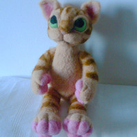 Needle felted animal  felted STRIPED CAT wool  felted  Cat.Eco- friendly. toy Soft sculpturecat Original design by LinenWoolRainbow