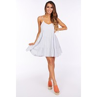 The Only Reason Tiered Ruffle Dress (Denim/Ivory)