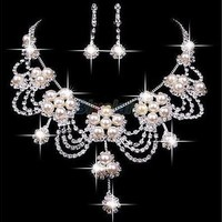 Taoqiao  Plated Silver Rhinestone Earring Crystal Pearl Necklace Jewelry Set For Wedding (Size: One Size, Color: White) [7980779655]