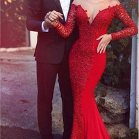 2016 Red Mermaid Prom Dresses Off the Shoulder Long Sleeves Lace Formal Evening Gowns