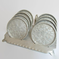 Vintage Everlast Hammered Aluminum Coasters and Caddy   Hand Forged Vintage Set of 8 Dogwood Flower Design with Stand   Mid Century Barware