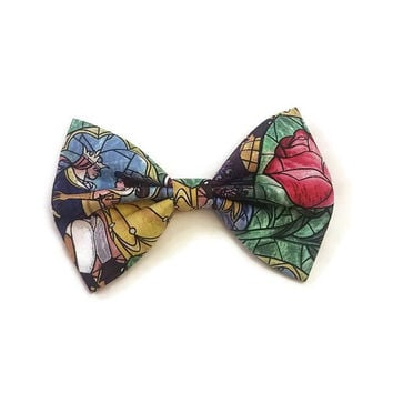 Belle Hair Bow • Beauty and the Beast Bow • Princess Bow, • Enchanted Rose Bow • Princess Belle Hairbow • Stained Glass Bow • Rose Bow