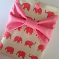 """Macbook Pro 13 Sleeve MAC Macbook 13"""" inch Laptop Computer Case Cover Pink Elephant with Pink Bow"""