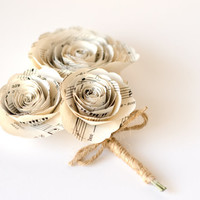 Rose Corsage made from Sheet Music - IN YOUR COLORS - Paper Wedding Buttonhole Flowers for Mothers, Grandmothers, Wedding Party