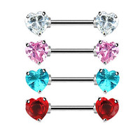 Straight barbell nipple ring with jeweled heart front-facing ends