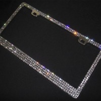 Super Bling 4 Rows Grey(A-Type Screw Cap) Real Crystal Rhinestone-Metal Chrome License Plate Frame