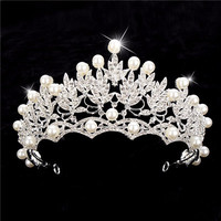 Women Crystal Pearl Silver Queen Crown Tiara Hair Accessories Headband