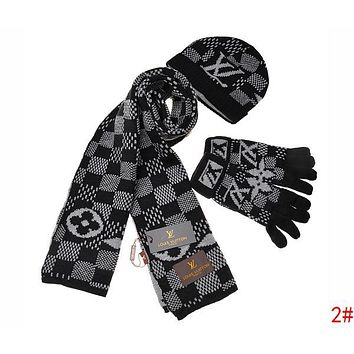 LV Louis Vuitton tide brand women's winter warm fashion wild scarf three-piece 2#