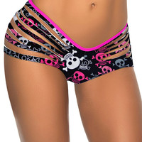 Black Skull Print Ripped Bottom