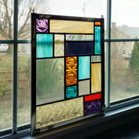 Geometric Stained Glass Panel - Stained Glass Window - Suncatcher - Privacy Screen - Garden Art Decor- Abstract Art - Purple - Yellow - Blue
