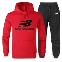 New Balance New fashion letter print couple hooded long sleeve sweater and pants two piece suit Red
