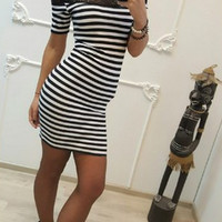 Lace Patchwork Striped Dress