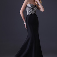 Leopard and Black Strapless Mermaid Evening Dress