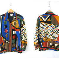Retro Abrstact Jacket 90s Oversized Bomber Colorblock coat Slouchy Club Kid Crazy Graphic Print Vintage Women's One Size OSFM