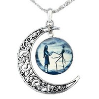 Jack Skellington Necklace Pendant Gift, Jack and Sally Nightmare Before Christmas (Blue)