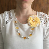 Yellow Fabric Necklace, Statement Necklace, Yellow Necklace, Yellow, Fabric Jewelry, Bib Necklace, Textile Necklace, Teen Necklace