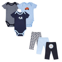 2016 Monther Nest Brand Baby Boy Clothes 6 Pcs/lot Infant Jumpsuit Short Sleeve Summer Baby Clothing Set Summer Boy Girl