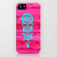 Hipster Teal Dreamcatcher Girly Pink Fuchsia Wood  iPhone Case by Girly Trend   Society6
