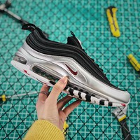 Nike Air Max 97 Qs Metallic Pack Black Silver Red Sport Running Shoes - Best Online Sale
