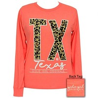 SALE Girlie Girl Preppy Leopard Texas Long Sleeve T-Shirt