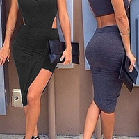 Black Sleeveless Bodycon Asymmetric Dress