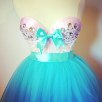 The French Sugar Dress 2 pc Bustier and Tutu Aqua and Pink Made to Order