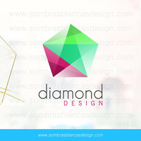 OOAK Premade Logo Design - Colorful Diamond - Perfect for a contemporary jewelry brand or an industrial design shop