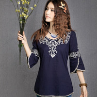 New women autumn spring summer half sleeve blouse ethnic Mexican shirt hippie tee vintage pullovers