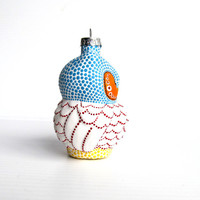 Owl: Hand Painted Glass Owl Ornament