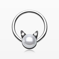 zzz-Pearlescent Sparkle Kitty Cat Captive Bead Ring