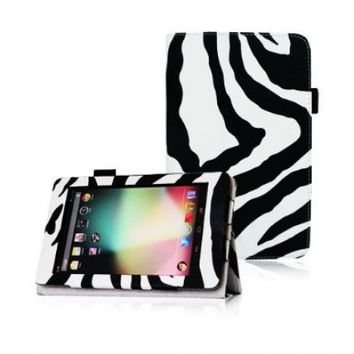 FINTIE (Zebra Pattern) Leather Folio Stand Case Cover (With Automatic Sleep/Wake Feature) for Google Asus Nexus 7 Inch Android Tablet