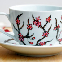 Cherry Blossoms Tea Cup and Saucer - Made to Order - Hand painted Coffee Cup set - Ceramic Coffee Mug