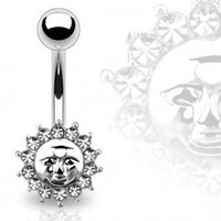 """Belly Button Ring Navel Cz Sun Jewelry 14 Gauge 3/8"""" Ho679"""