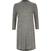 River Island Womens Grey marl ribbed turtle neck swing dress