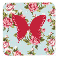 Set of 4 Butterfly Shabby Chic Blue Roses Foam Coasters