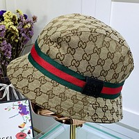 GUCCI New fashion more letter canvas sun protection leisure fisherman hat cap Khaki