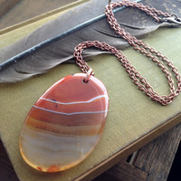 Banded Carnelian Pendant Necklace