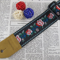 Imagencilla Guitar Strap Jacquard Ribbon Belt Black with Rose Flower pattern IG0150FA