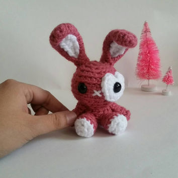 Mini Amigurumi Bunny Stuffed Animal Rabbit Mini Pet Hare Kawaii Chibi Gift Toy Collectible Room Decor