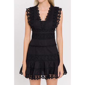 Apparel- Allister Plunging Neckline Lace Trimmed Dress Black